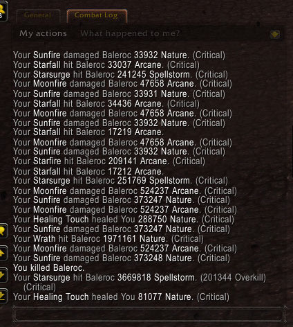 Screenshot of the combat log
