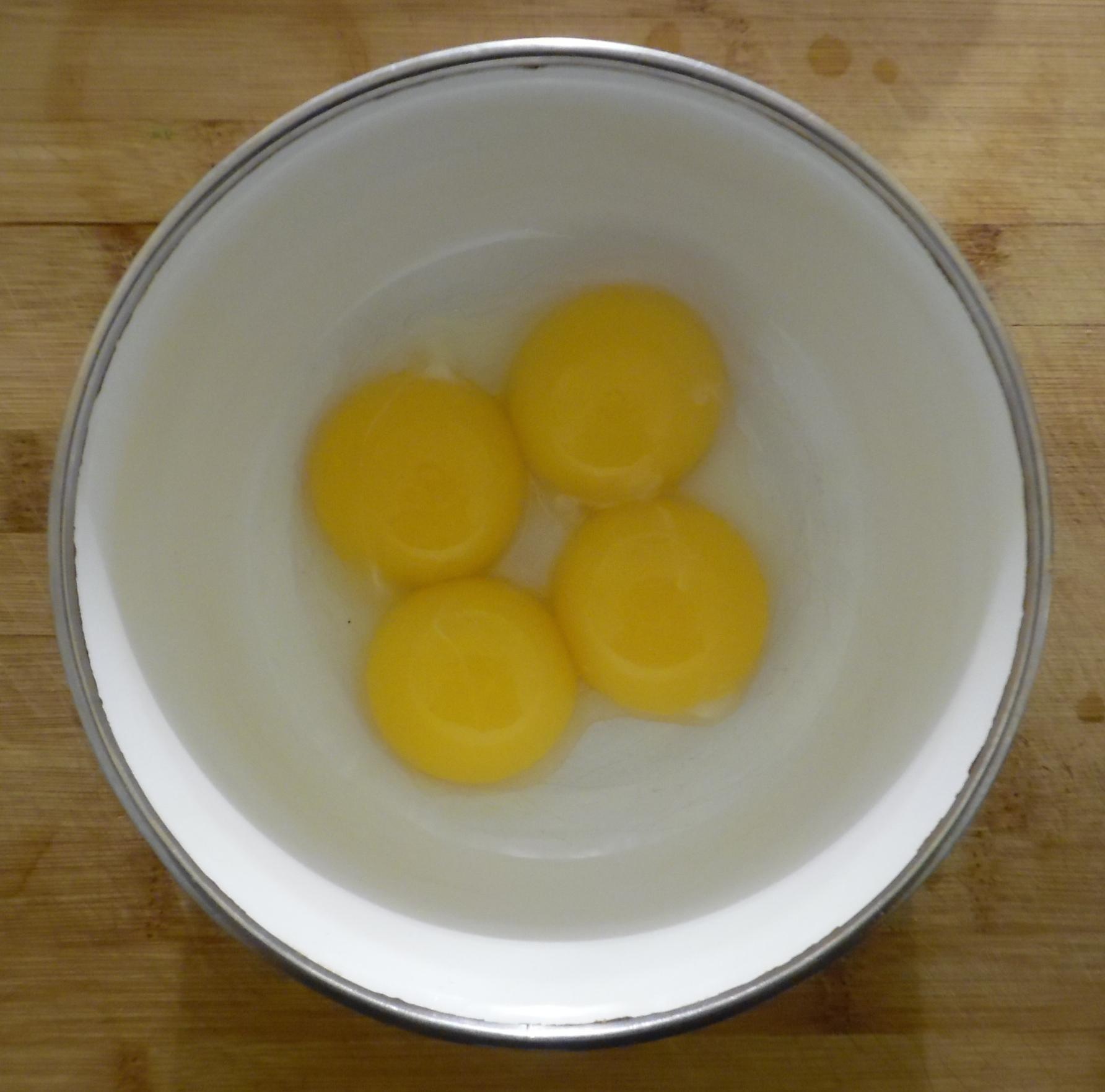 Four extra-large egg yolks.