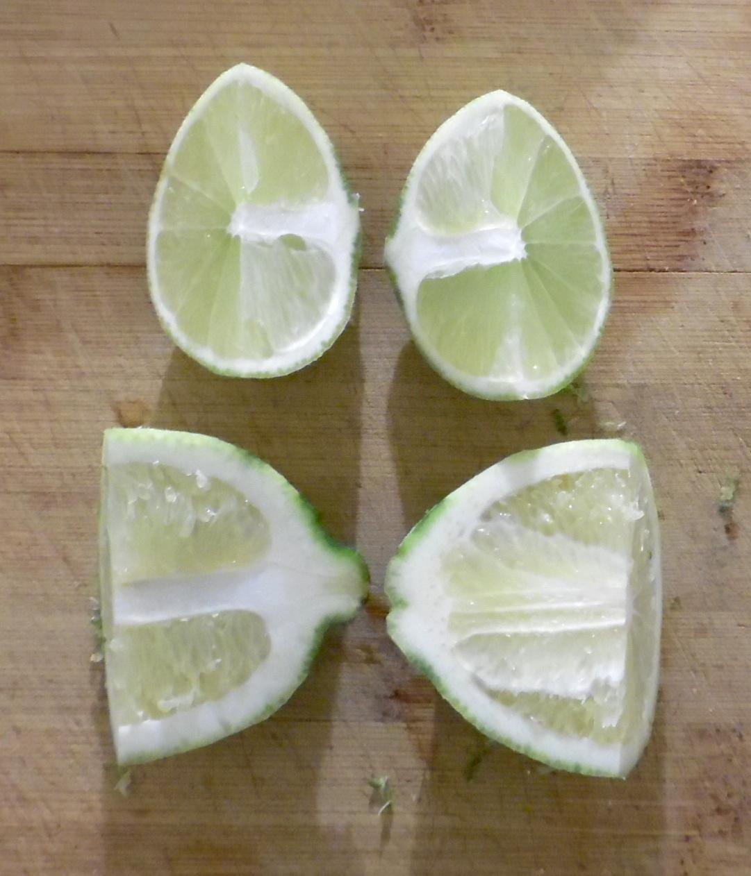 Limes quartered for juicing.